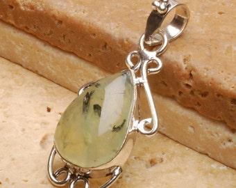 Natural Prehnite silver plated  pendant  (#J489)