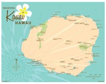 Kauai, HI Map Print (Vintage Blue)