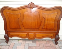 Splendid  Antique French  Louis XVI style 19 th c Full bed Headboard Handcarved Furniture