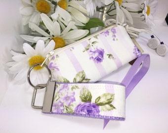 Ultra Feminine Lavender Roses Mini Key Fob and Zipper Lipstick Coin Purse Set, Victorian, Earbuds Headphones Case Change Purse