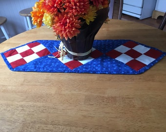 Patriotic table runner, quilted table runner, nine patch table runner in red white and blue