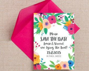 Bright Floral Fiesta Wedding Save the Date Cards