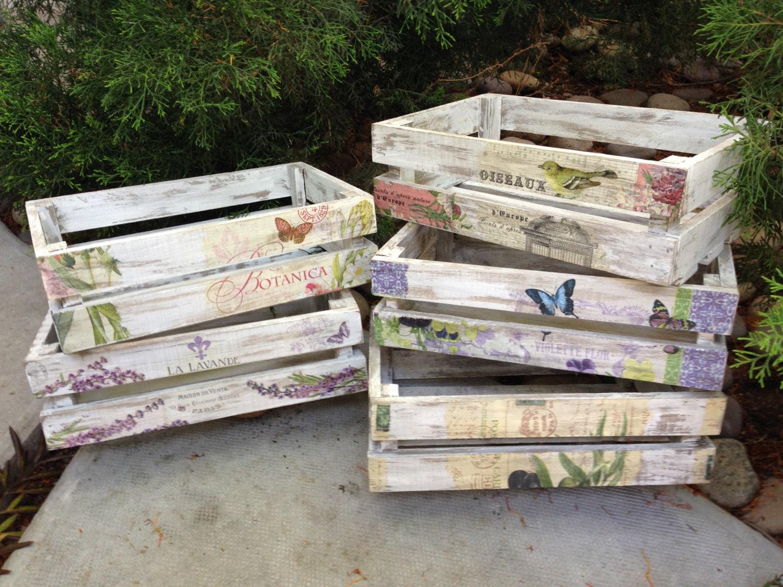 Wooden crates decorated vintage by lasillazul on etsy - Decoracion vintage reciclado ...