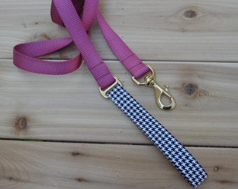 Dog Leash/Lead - Houndstooth - Black and White - Matching Female Dog Leash