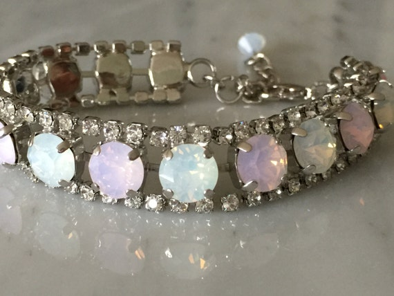 White and Rose Water Opal, Crystal Edged Bridal, Bridesmaid Bracelet