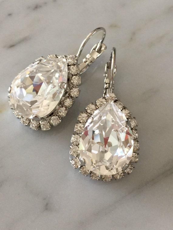 Large Pear Cut Swarovski Clear Crystal Bridal, Cocktail Earrings