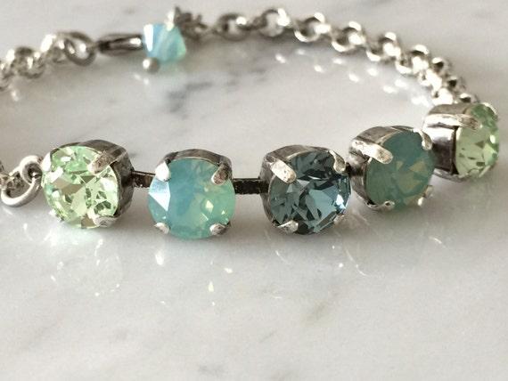 Swarovski Pacific Opal Crystal Bracelet,  Swarovski Green Crystal Bracelet, Chrysolite Crystal Bracelet, Indian Sapphire Crystal Bracelet