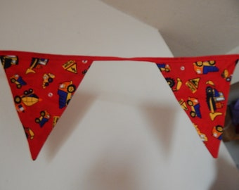Fabric Bunting Boys 10 Feet Double Sided Trucks, Red