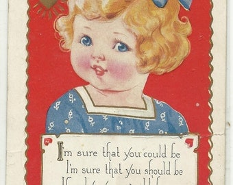 VALENTINE - Cute LITTLE GIRL - Embossed - Embellished w Gold - 1926