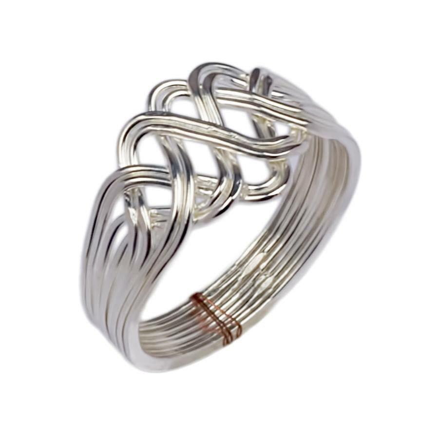 925k silver 8 band princess puzzle ring