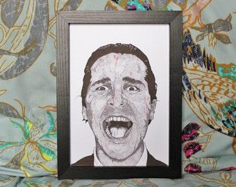 American Psycho Patrick Bateman Movie Film Art Print Illustration A5