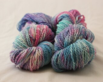 Hand Dyed Heavy Worsted Weight Peruvian Highland Wool Yarn - Pink, Purple, and Blue multi