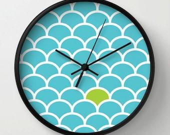Blue wall clock, turquoise clock, blue scales decor clock, green dot, Modern home living housewares
