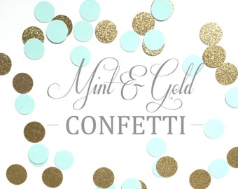 Mint and Gold Confetti Circles - Perfect for Weddings, Birthday Parties, Bridal Showers, Baby Showers, Invitations, Decorations.