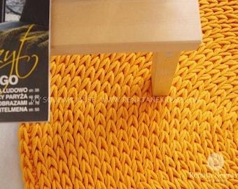 Yellow, cotton cord, round rug, crochet rug, crochet carpet, knitted carpet, knitted rug, home & decor, furniture, floor decoration, floor,