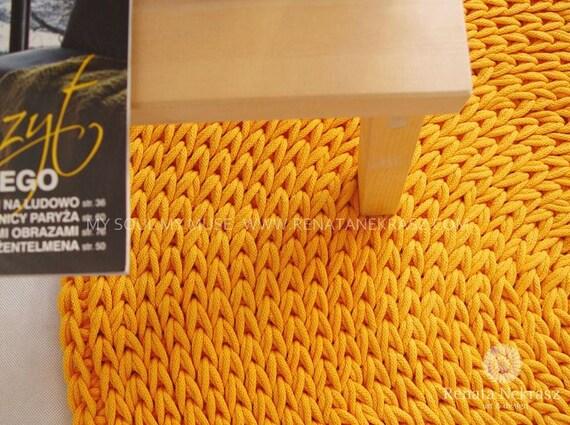 Gelb baumwollschnur runder teppich teppich häkeln von rnartdesign