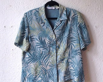Vintage shirt blouse Tanjay short sleeve pattern sheet green blue jungle woman