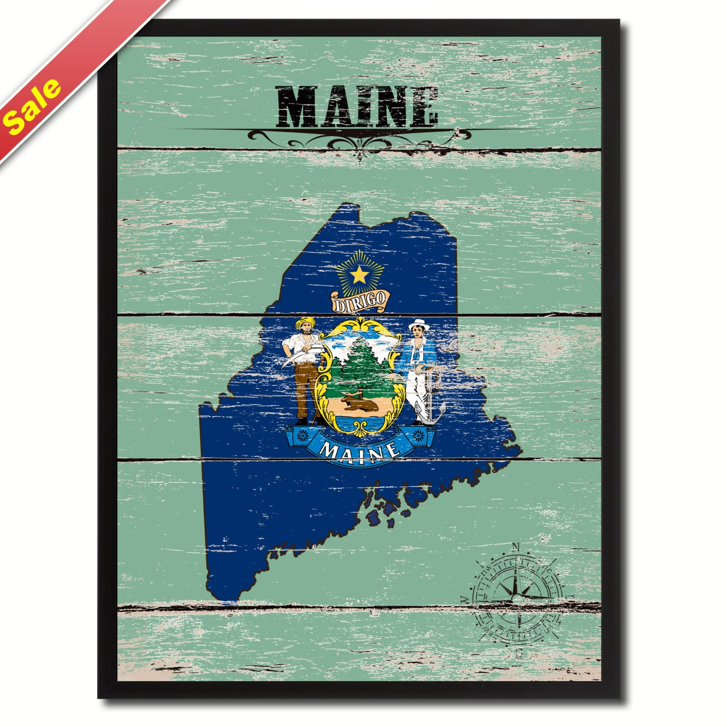 Maine State Flag Green Map SPECIAL SALE Modern By