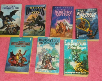 fantasy paperbacks-where dragons lie-lot of 7-by r.a.v.salsitz-1980s-GD