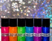 Sunkissed Neons Entire Collection, hand-made 5 free nail polish