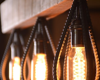 Industrial Barn Wood and Rebar light fixture