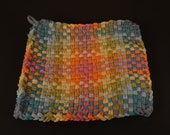 Hello Spring! Large Pastel Colorful Handmade Woven Cotton Potholder C539