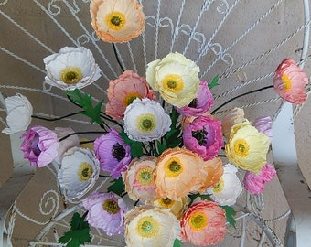 Paper Poppy Arrangement - Icelandic Poppies - Paper Flowers- Colorful Paper Poppies - Wedding Poppies-Custom Colors Available-