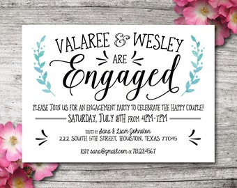 "Printable Engagement Party Invitation PDF, 5""x7"", Customizable"