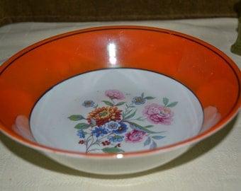 "Vintage floral orange serving bowl made in Germany by CELEBRATE . 9"" diameter x 3"" deep"