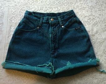 Vintage Reclaimed Hand Dyed Seafoam Teal Denim Cut Off Shorts