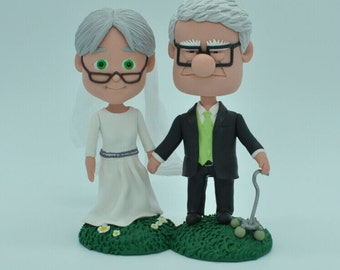 Wedding Cake Topper - Carl & Ellie wedding cake topper- UP Cake Topper Cane Frederiskson