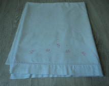 French Vintage babies embroidered sheet  (01037)