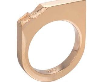 Minimalist rose gold ring  - Rose gold stacking ring - Geometric rose gold ring - Statement jewellery