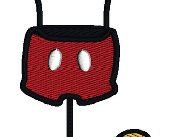 Mickey Mouse Outfit Embroidery Design on Dress Form