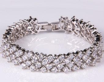 Crystal bracelet, Bridal bracelet, Rhinestone Bracelet, Swarovski Bracelet, Wedding bract, Bridal accessories, Prom, Crystal Bracelet b2