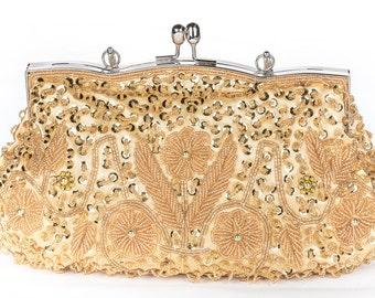 Gold Crystal Clutch, Vintage Wedding Accessories, Bridal Clutch with Crystal Accent, Bridal Evening Bag ,Prom Clutch, Formal Party Bag 22