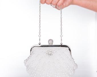 White, Pearl Clutch Bag, Evening Clutch, Bridal Clutch Bag, Custom Wedding Accessor c26