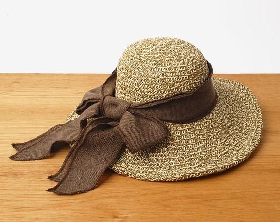 floppy straw hat vintage 70s sun hat wide brim by janicewinner