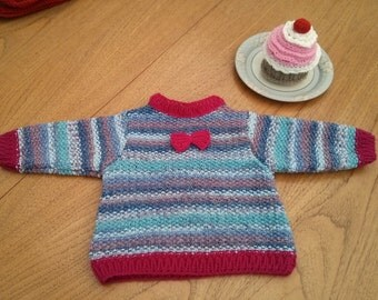SALE - Baby jumper - cute bow detail, 0 - 3 months