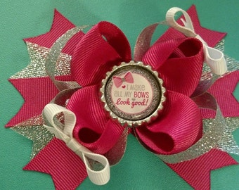 "pink and glitter ""I make my bows look good"" hair bow"