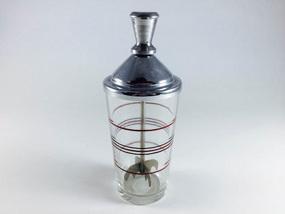 Vintage Cocktail Shaker Ice Crusher Banded Glass By KamKap Mid