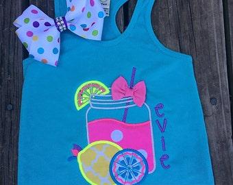 lemonade shirt/razorback tank with matching bow