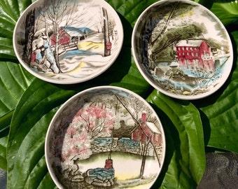 Set of Three Johnson Bros Seasons Plates 1940s