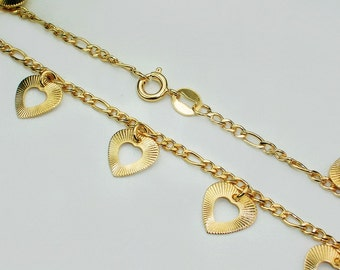 Engagement heart charms anklet for bride 10 inches long genuine 18k gold filled wedding jewelry bride ankle bracelet