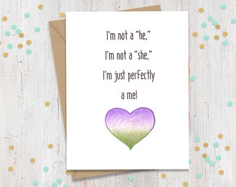 Non-Binary Pride Card, Coming out of Closet, Coming Out, LGBTQ, Greeting Card, Pride, Trans Pride, FourLetterWordCards