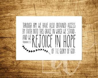 "Rejoice In Hope - Romans 5:2 - Inspirational Art - 4x6"" Digital Print - Customizable - Instant Download Printable Art"