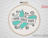 HOME SWEET HOME counted cross stitch pattern, modern home decor chart, retro house xstitch, quote sampler design, bold housewarming gift pdf