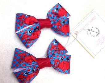 Turquoise with Red Crabs Set of TWO Hair Bows / Barrettes / Clips!