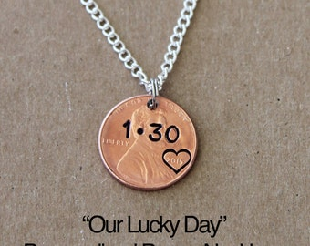 Anniversary Necklace, OUR LUCKY DAY, lucky penny necklace, girlfriend gift, wife gift,Anniversary, personalized necklace, Valentines gift