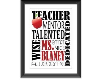 Custom Teacher Print, Personalized Teacher Print, Teacher Gift, Teacher Appreciation Gift, Typography Art, Wall Art, Home Decor, Art, Gift